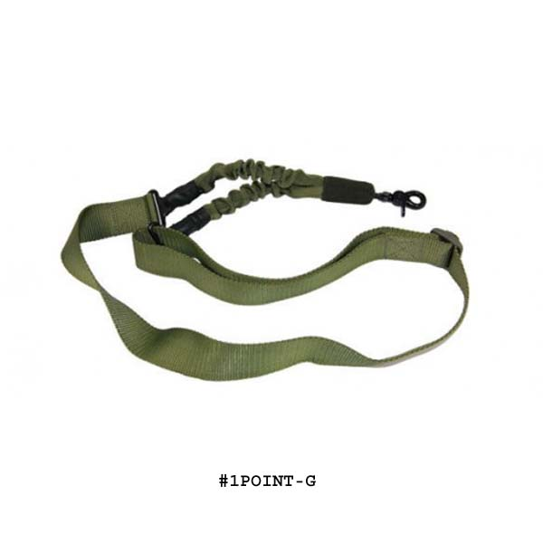 GunTec One Point Bungee Sling With QD Snap Hook- OD Green