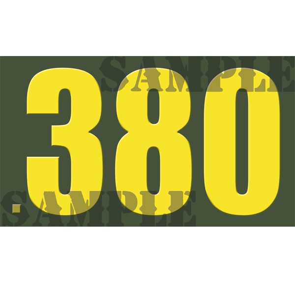 Ammo Can Sticker .380 - Yellow Standard .50Cal