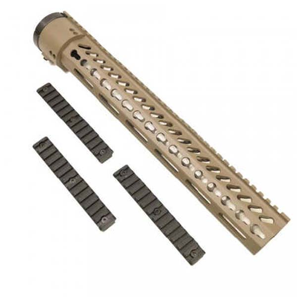 GunTec 15 Inch Thin Profile Free Floating KeyMod Extended Length Handguard With Removable Rails & Monolithic Top Rail Flat Dark Earth (.308 Cal)