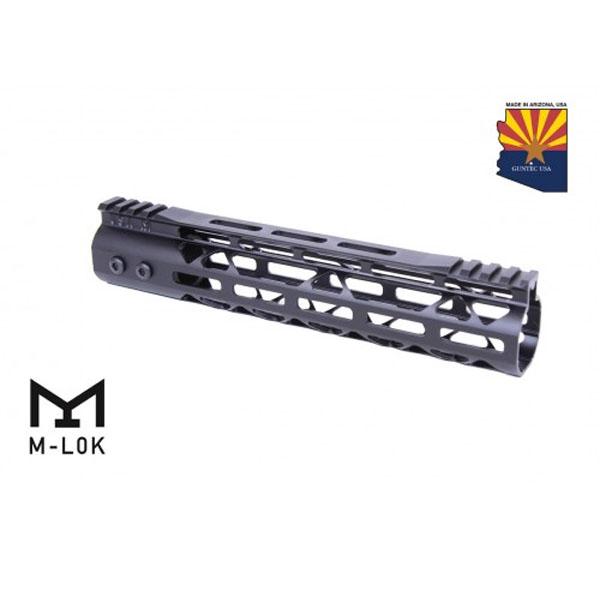 GunTec 10 Inch AR-15 Mod Lite Skeletonized Series M-LOK Free Floating Handguard With Monolithic Top Rail