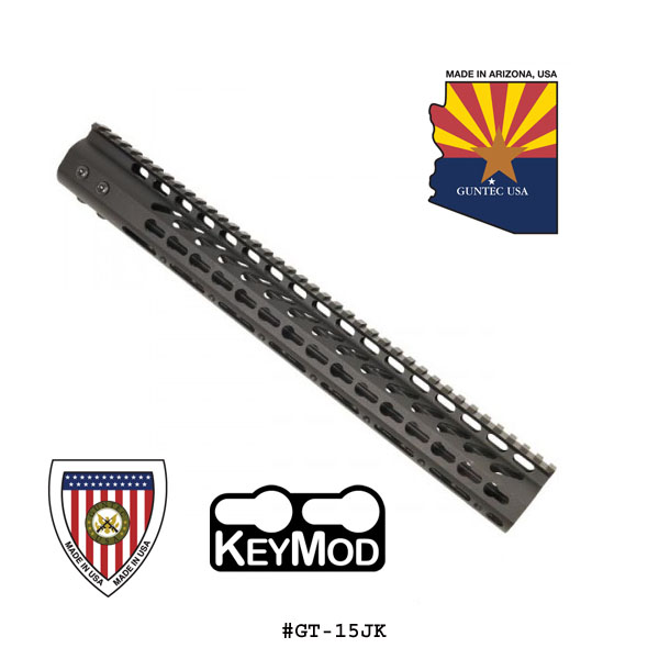 GunTec 15 Inch Ultra Lightweight Thin Key Mod Free Floating Handguard With Monolithic Top Rail