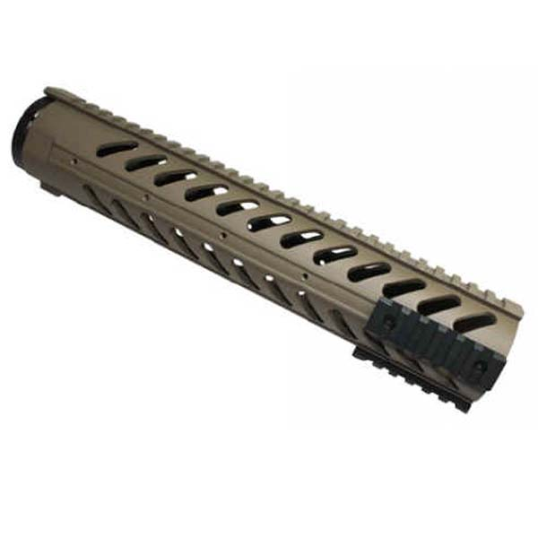 GunTec 12 Inch Free Floating Handguard With Sectional Side / Bottom Rails - Flat Dark Earth (308 CAL)