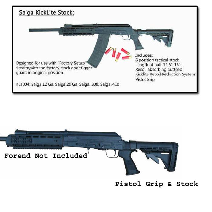 Phoenix Tech Saiga KickLite Recoil Reducing Tactical Stock, Pistol Grip,  and Recoil Pad