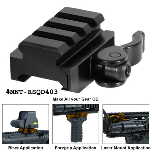 UTG 3-Slot QD Lever Mount Adaptor and Riser, Medium Profile 0.59