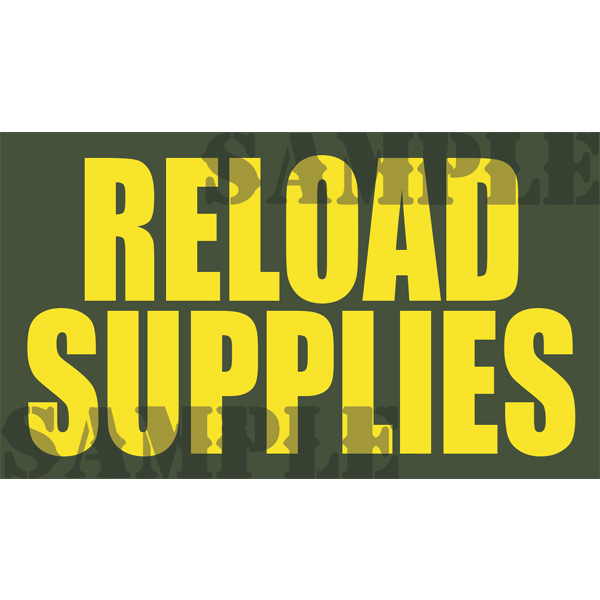 Ammo Can Magnet RELOAD SUPPLIES - Yellow Standard .50Cal