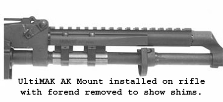 UltiMAK Shim Set for AK Scout Mount for M1-B or M2-B for  223 or 5 45  Calibers