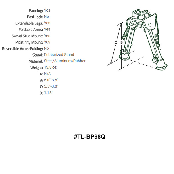 "UTG Super Duty Bi-pod with QD Lever Mount Height 6.0/"" 8.5/"""