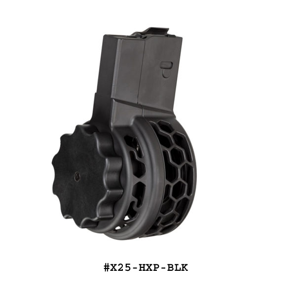 X-25 HXP 50 Round Drum Magazine for AR .308 & SR-25 Hex Pattern-Restricted Item -Check Your Local and State Laws Prior To Ordering