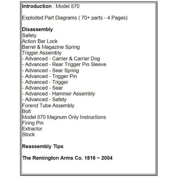 Gun Guides For Remington 870 Shotgun Disassembly Reassembly Guide