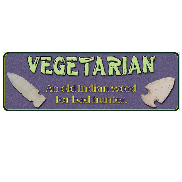 Rivers Edge Products 10.5 Inch x 3.5 Inch Tin Sign - Vegetarian