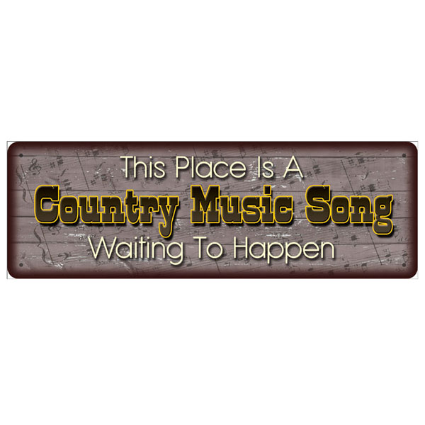 Rivers Edge Products 10.5 Inch x 3.5 Inch Tin Sign - Country Music Song