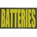 Ammo Can Sticker BATTERIES - Yellow Standard .50Cal
