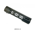 GunTec 10 Inch Thin Profile Free Floating Handguard With Removable Rails & Monolithic Top Rail (308 Cal) - Black