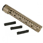 GunTec 12 Inch Thin Profile Free Floating KeyMod Rifle Length Handguard With Removable Rails & Monolithic Top Rail (.308 Cal) (Flat Dark Earth)