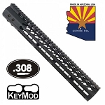 GunTec 15 Inch Ultralight Thin Keymod Free Floating Handguard With Monolithic Top Rail (.308)