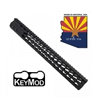 GunTec 15 Inch Slimline Octagonal 5 Sided Key Mod Free Floating Handguard With Monolithic Top Rail