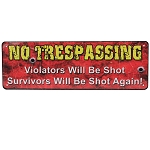 Rivers Edge Products 10.5 Inch x 3.5 Inch Tin Sign - No Trespassing