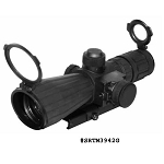 NcStar 3-9X42 Rubber Compact Scope With Red Laser, Blue Illuminated Mil Dot Reticle & Quick Release For A Weaver Base