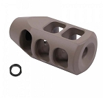 GunTec AR .308 Cal Gen 2 Multi Port Steel Compensator - Flat Dark Earth