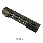 GunTec 10 Inch Thin Profile Free Floating Handguard With Removable Rails & Monolithic Top Rail (308 Cal) - OD Green