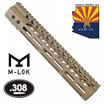 GunTec 12 Inch Ultra Lightweight Thin M-Lok System Free Float Handguard With Monolithic Top Rail Flat Dark Earth .308