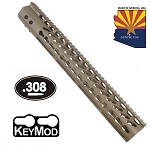 GunTec 15 Inch Ultralight Thin Keymod Free Floating Handguard With Monolithic Top Rail FDE  (.308)