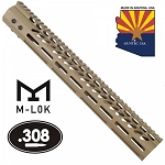 GunTec 15 Inch Ultra Lightweight Thin M-Lok System Free Floating Handguard With Monolithic Top Rail Flat Dark Earth .308