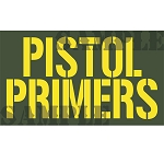 Ammo Can Magnet PISTOL PRIMERS - Yellow Stencil .50Cal