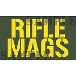 Ammo Can Sticker RIFLE MAGS - Yellow Stencil .50Cal