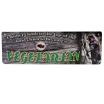 Rivers Edge Products 10.5 Inch x 3.5 Inch Tin Sign - Food Chain / Vegetarian