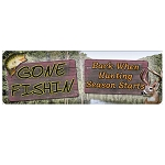 Rivers Edge Products 10.5 Inch x 3.5 Inch Tin Sign - Gone Fishin