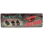 Rivers Edge Products 10.5 Inch x 3.5 Inch Tin Sign - When Nature Calls