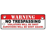 Rivers Edge Products 10.5 Inch x 3.5 Inch Tin Sign - Warning No Trespassing