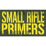 Ammo Can Magnet SMALL RIFLE PRIMERS - Yellow Stencil .50Cal