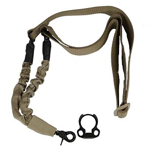 GunTec AR-15 One Point Bungee Sling With QD Snap Hook And QD Ambi Bolt On Sling Adapter Combo Kit - Tan