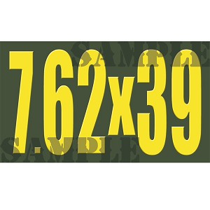 Ammo Can Sticker 7.62X39 - Yellow Standard .50Cal