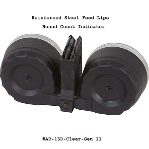 AR-15 100 Round Drum With Steel Feed Lips - Gen II -Restricted Item -Check Your Local and State Laws Prior To Ordering