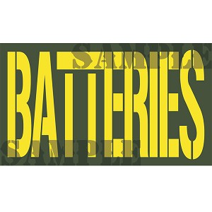 Ammo Can Sticker BATTERIES - Yellow Stencil .50Cal