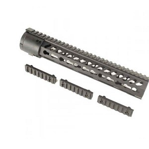 GunTec 12 Inch Thin Profile Free Floating KeyMod Rifle Length Handguard With Removable Rails & Monolithic Top Rail (.308 Cal)
