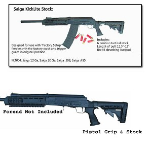 Phoenix Tech Saiga Field Series Tactical Butt Stock, Pistol Grip, and Recoil Pad (No Recoil Reduction System)