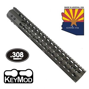 GunTec 15 Inch Ultralight Thin Keymod Free Floating Handguard With Monolithic Top Rail OD Green (.308)