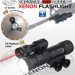 UTG Xenon Flashlight and W/E Adjustable Red Laser Combo, 10 Positions