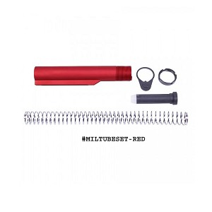 GunTec AR-15 Mil-Spec Buffer Tube Set - Red