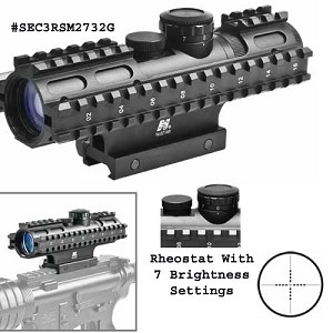 NcStar 2-7X32 Compact Scope W/ 3 Rails Mil Dot Reticle W/ Blue Illumination & Weaver Style Mount