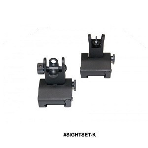 GunTec AR-15 Spring Assisted Low Profile Flip Up Sight Set - Rail Height